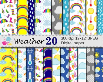 Weather Digital Paper Set, Weather Digital Papers with Rain Sun Umbrella Clouds, Scrapbook Papers, Instant Digital Download
