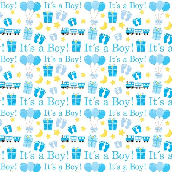 Its a Boy Digital Paper Set, Baby Boy Blue Digital Papers ...