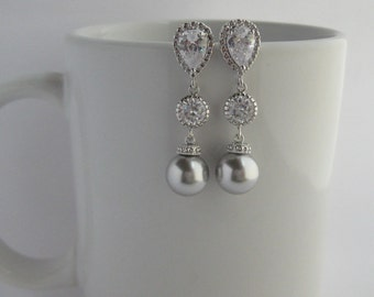 Light Grey Pearl and Crystal Bridal Drop Earrings Wedding Cubic Zirconia and Pearls Rhodium Earrings Swarovski Pearl Jewelry