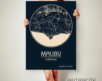 MALIBU California Map Malibu Poster City Map Malibu California Art Print Malibu California poster Malibu California art Poster ArchTravel