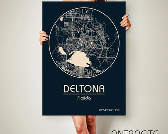 DELTONA Florida CANVAS Map Deltona Florida Poster City Map Deltona Florida Art Print Deltona Florida poster
