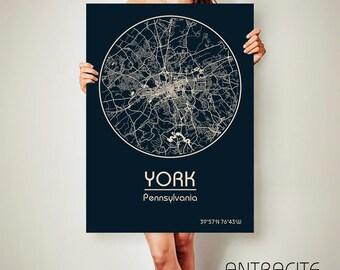 YORK Pennsylvania CANVAS Map York Pennsylvania Poster City Map York Pennsylvania Art Print York Pennsylvania