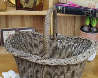 Vintage Reed/Wicker Shopping Basket/Storage/SALE