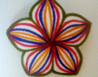 Felt Brooch With Hand Painted Line Design - Hand Painted Felt Brooch – Wearable Art – Women's Brooch
