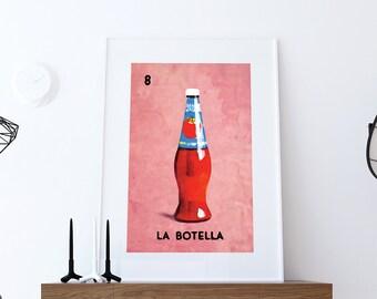 Loteria La Botella Mexican Retro Illustration Art Print Vintage Giclee on Paper Canvas Poster Wall Decor