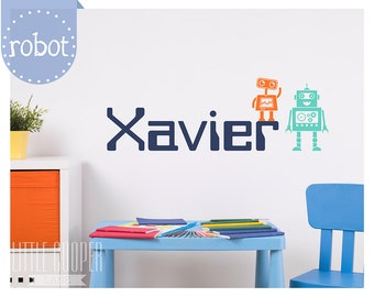 Boys Name and Robot Vinyl Wall Decal Sticker | Large Personalised Name | Space | Machine | For Nursery OR Kids Room_ID#1325