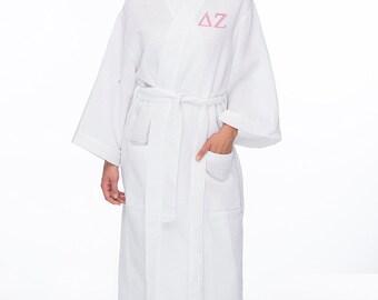 Delta Zeta Waffle Weave Bath Robe, DZ Waffle Weave Robe, Sorority Letter Bath Robe, Delta Zeta Spa Robe