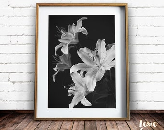 Flower Print, Lilies Print, Oriental Lily, Black and White flowers, Black and White photo, Instant Download, Large Print