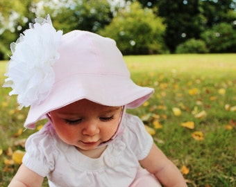Sale,Baby Hat, Hat, Sunhat, Baby Sunhat, Baby, Baby Girl Pink, Pink Baby Hat, Pink Sunhat, Flower Hat, White Flower, Flower Sunhat, Pink Hat