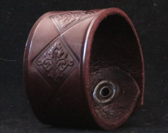 Leather Bracelet Cuff Wristband Brown With Stamped Tooled ornamental Pattern Gift For Her