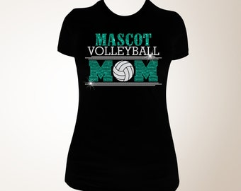 Custom Volleyball Mom Glitter and Bling Shirt, Volleyball Shirt, Volleyball Mom Shirt, Bling Shirts, Mom Bling Shirts, Bling, Shirt
