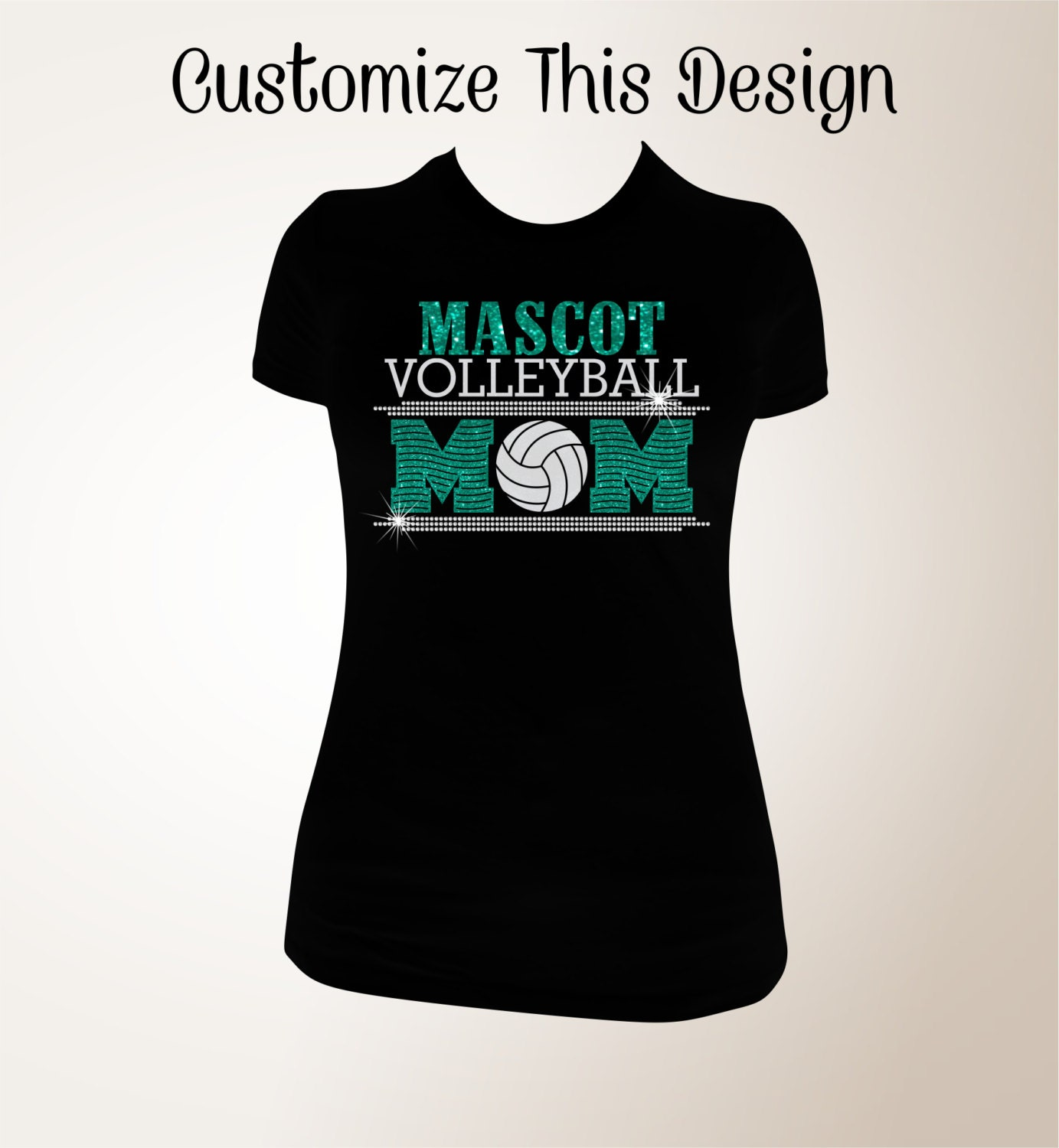 Custom Volleyball Mom Glitter And Bling Shirt Volleyball