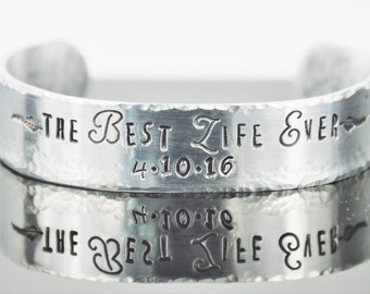 "Personalized Best Life Ever Bracelet with Secret Message; Scripture Cuff; JW Gift; Baptism Gift; Custom Made Bangle; Bible Quote; 5/8"" x 6"""
