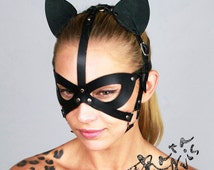Leather cat mask, Leather Harness, Leather Catwoman Mask, Leather Party Mask, Masquerade Mask, Leather BDSM Mask, Fetish Mask, Petplay Mask