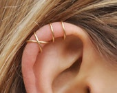 Set of 2 Ear Cuffs, Ear Cuff, No Piercing,Earcuff,Double Ear Cuff and Criss Cross Ear Cuff,Cartilage,Simple Ear Cuff,Fake Cartilage Earring