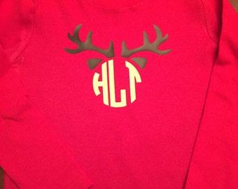 Antlers Monogrammed Shirt - Children's Deer Antlers Shirt - Antlers Monogrammed Shirt - Deer Monogram - Boys Deer Shirt - Deer Antlers Shirt