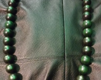 Green large Couture beaded necklace 11 inch length