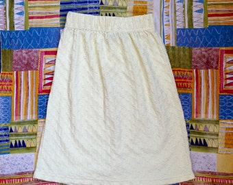 Light Yellow Knee-Length Skirt, 1980s, Size Small