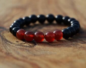 Black Onyx with Carnelian Stone - 8mm Genuine Semi Precious Stone Bracelet