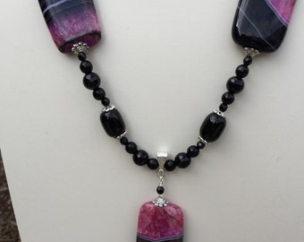 Black Onyx and Quartzite necklace