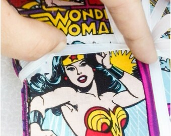 Wonder woman charm pack, DC comic charm pack, 5x5 inch hand cut quilt squares, Wonder woman fabric charm pack, superhero fabric charm pack