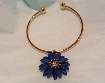 Sapphire Blue Flower with Rhinestone Center Handmade Charm Bracelet