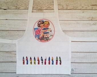 Child apron.Crayon Apron,Child Art smock