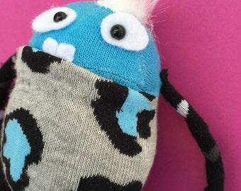 Sock Monster - Animal Print - One of a Kind