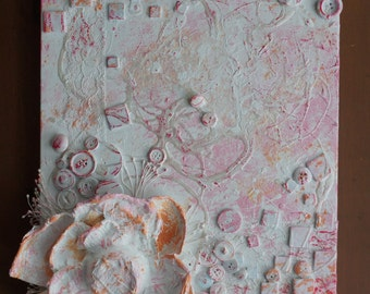 Canvas mixed media - paintings Mixed Media - canvas 11 x 14 inches - Decoration - flowers - Rose - girl - Collage, 3D - Art Bohemian