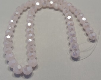 "Glass Beads - Pink Frost - 8mm Round - 15"" long strand - Free Shipping"