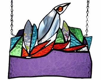 THE NEST / Multicolored stained glass suncatcher, a unique piece of art