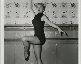 Vintage Original 1950s Photograph Spectacularly Tragic Hollywood Starlet Barbara Payton Mid-Century Dance Pose Bert Six Portrait
