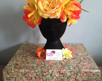 Flower crown, yellow and orange peonies with lilies daisies