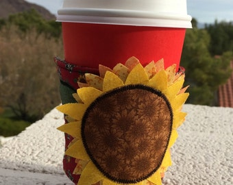 Sunflower Coffee Cozy, coffee cup sleeve - fabric - quilted