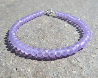 Lilac Frosted Faceted Beaded Bracelet