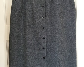 Vintage Heather Grey Wool Skirt with Button Down Front, Full Length