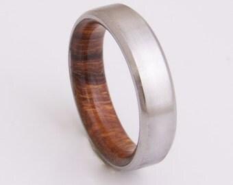 Titanium and iron wood // Mens Wood Rings //wood Wedding Band //Men's wedding Band // beveled edge