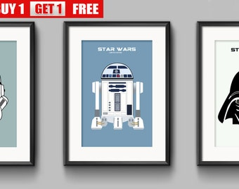 Star Wars prints, Darth Vader, RDD2, Stormtrooper, set of 3 stunning modern art prints.  Empire Strikes Back, Return of the Jedi, Phantom