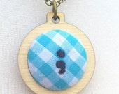 Semicolon pendant jewellery in mini embroidery hoop, antique bronze colour 32/18 inch chain mental health awareness OOAK blue gingham navy