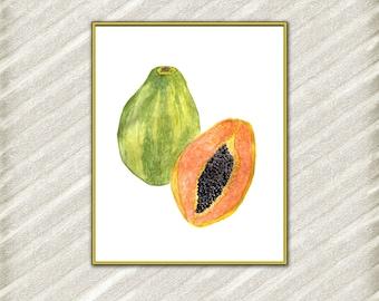 Papaya Art Print Printable Papaya Kitchen wall decor Papaya Print Home Decor Poster Digital Art Print Tropical Print watercolor painting