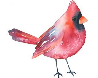 Cardinal Original Art - Watercolor Bird Painting - 5 x 7 - Baby Nursery Art