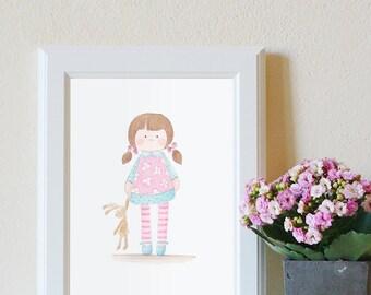 Baby girl wall art, Nursery decor, Baby girl room print, Custom name decor,  Nursery watercolor, Baby girl gift