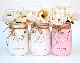 Ombre Jars, Pink White Jars, Mason Jars, Painted Mason Jars, Mason Jars Decor, Painted Jars, Mason Jar Centerpiece, Mason Jars Bulk, Spring