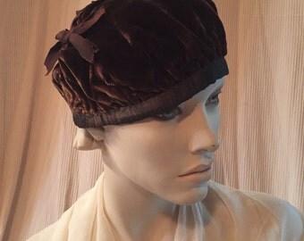 Antique Circa: 1920's Velvet Beret- Custom Handcrafted- Chocolate Brown Vintage Boho Chic Tam Small