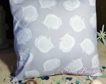 Fish Print Beach Pillow Covers Ocean Seaside Cabana Patio Decor