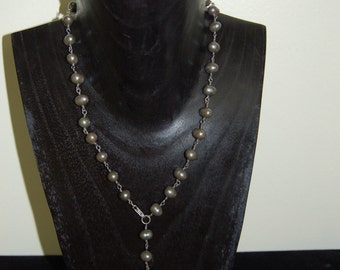 Freshwater Pearl & Sterling Silver Wire Wrapped Necklace