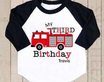 Firetruck birthday Shirt  Boy Personalized Shirt Boy Black Raglan Shirt