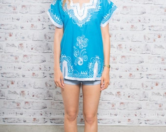 Vintage Boho Top, African Ethnic Kaftan Top in Turquoise Blue S/M