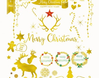 Digital Download Gold Foil, Christmas Clip Art, Handmade Holiday Clip Art, commercial use PNG, Gold Foil Christmas overlay, Holiday graphics