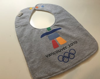 Vancouver 2010 Olympics Upcycled Recycled T-Shirt Bib with Bamboo/Organic Cotton Terry Cloth Back - OOAK